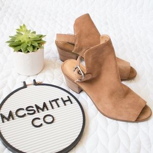 Lucky Brand   'Bray' Leather Peeptoe Ankle Boots